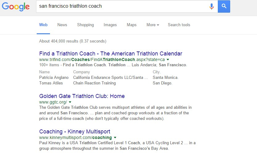 triathlon coaching business in google